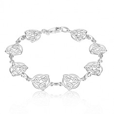 925 silver bracelet - Celtic knots with three points in circle, simple rings