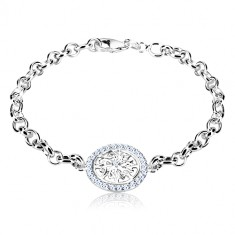 925 silver bracelet - circle with decoratively carved flower and zircons