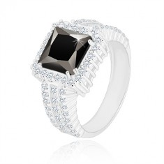 925 silver ring - black zircon square, clear zircon rim and arms