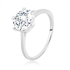 925 silver ring - narrow arms, triangles and transparent zircon, 8 mm