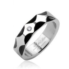 Steel ring - wavy pattern and zircon