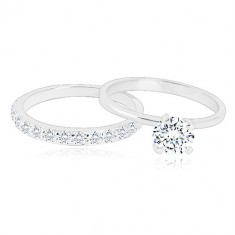 Set of silver rings - a wedding ring with with a glittery half, ring with a zircon
