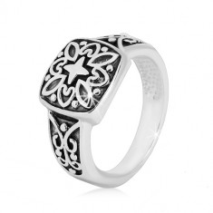 925 silver ring - decorative square and carved arms with patina