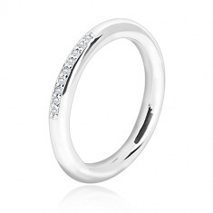 925 silver wedding ring - glossy round surface, line of tiny clear zircons