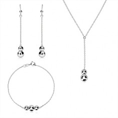 Silver 925 three-set - spiral chain, smooth glossy balls