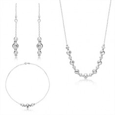 925 silver three-set - balls with crescent-shaped cuts, glittery chain