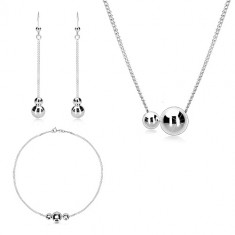925 silver three-set - chain of oval rings, smooth glossy balls