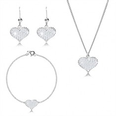 925 silver three-set - symmetric heart with zircons, chain joined into series