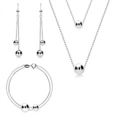 Three-set - double chain, smooth glossy balls, 925 silver