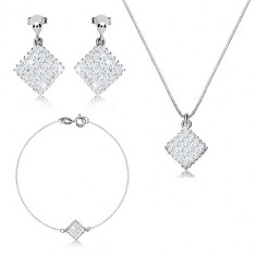 925 silver three-set - notched rhombus with zircons, angular chain
