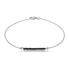 925 silver bracelet - cut zircons of black colour and bead chain