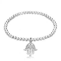 925 silver elastic bracelet - glossy balls, hand of Fatima