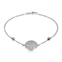 925 silver bracelet - circle carved with ornaments, cut balls