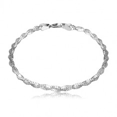 925 silver bracelet - two chains enmeshed together, glittery surface