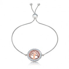 925 silver bracelet - life three of pink-gold colour, clear zircons, snake pattern