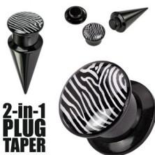 Black plug an taper with zebra motive