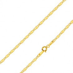 Yellow 585 gold chain - oval rings, oblong rings with stellular motif, 500 mm