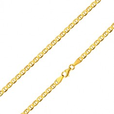 Yellow 14K gold chain - glossy oval rings with a stick in the center, 600 mm