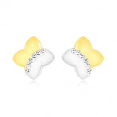 Combined 9K gold earrings - two-colour cross with zircon arch