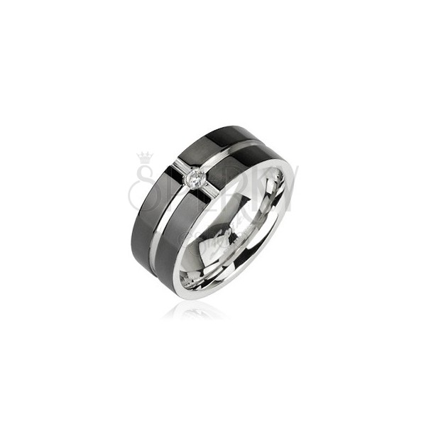 Stainless steel ring - cross pattern with zircon in the middle