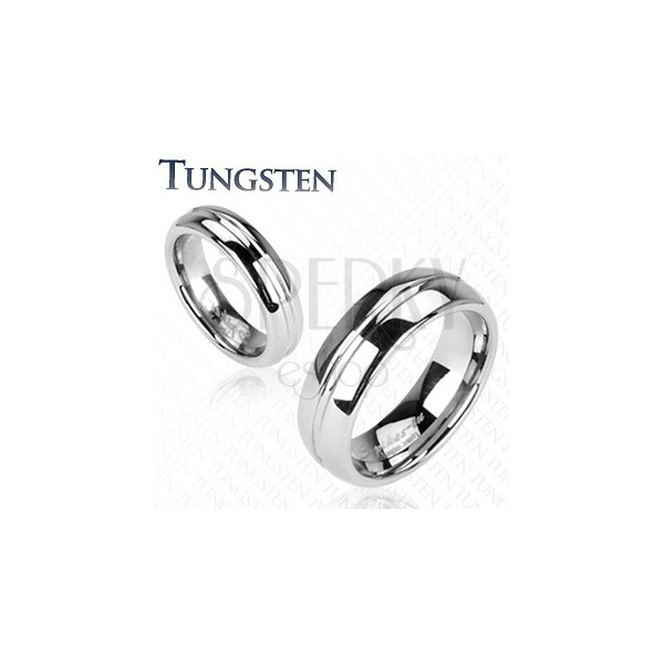 Tungsten ring - engraved central line