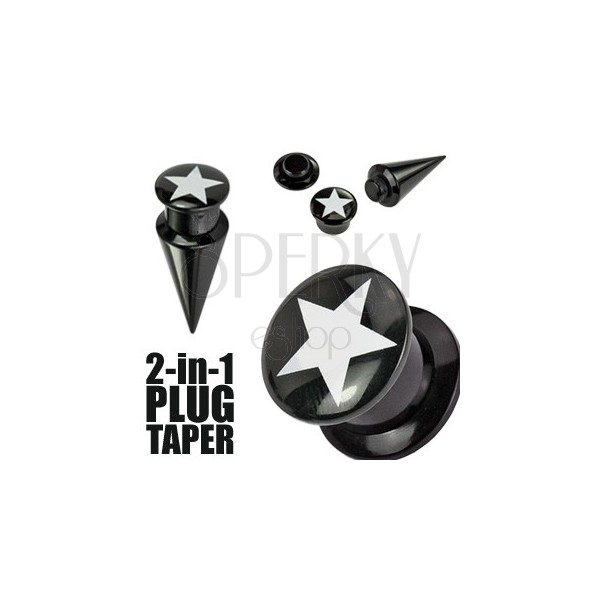 Black plug and taper with star - 2 in 1