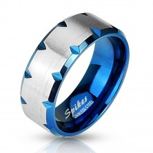 Blue steel ring with cuts on edges