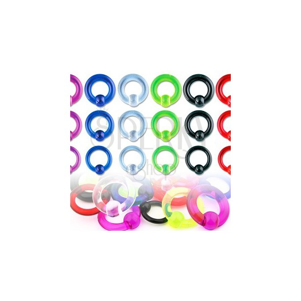 Acrylic UV piercing – ring with a bead with a smooth surface