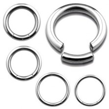 Inox steel piercing - smooth glossy circle, silver colour
