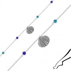 925 silver ankle bracelet - seashell, four blue balls