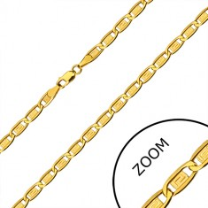 14K gold chain - oblong rings, elements with Greek key, 500 mm