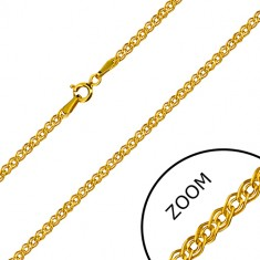Yellow 14K gold chain - elliptical and oval ring, glossy finish, 600 mm