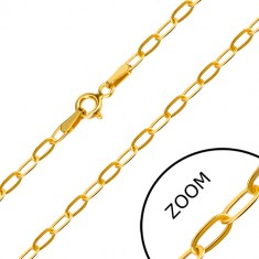 Yellow 14K gold chain - flat oblong ring, spring ring clasp, 550 mm