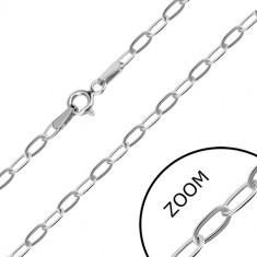 White 14K gold chain - oblong rings, spring ring clasp, 550 mm