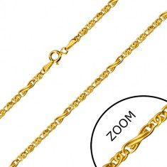 585 gold chain - infinity motif and flat oval rings, 550 mm