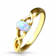 Steel ring of gold colour - synthetic opal with rainbow reflections, shoulders intertwined together