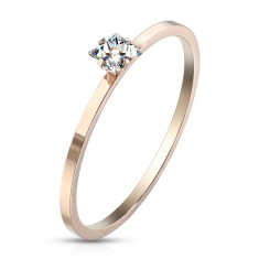 Steel engagement ring of copper colour - clear square zircon, glossy surface