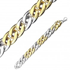 Two-colour steel bracelet - oval rings, lobster claw clasp closure, 15 mm