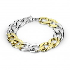 Steel bracelet of two-colour combination - oval rings, series joinder, 12 mm