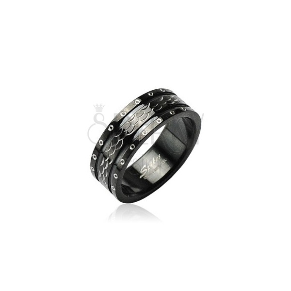 Stainless steel ring with vawes and circles