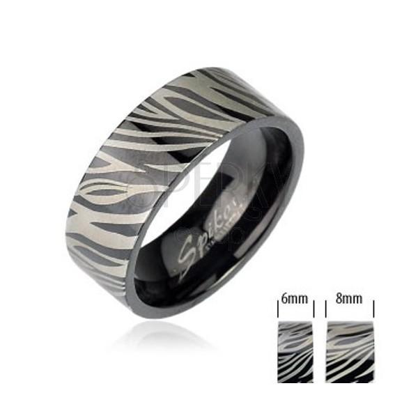 Stainless steel ring - black zebra