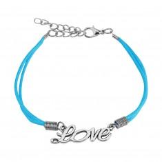"Light blue string bracelet, decorative inscription ""Love"" of silver colour"