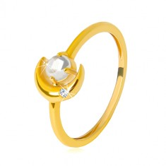 Yellow 9K gold ring - crescent moon with zircon, round zircon shaped as cabochon