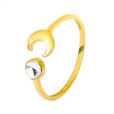 375 gold ring - glossy crescent moon, clear zircon shaped as cabochon