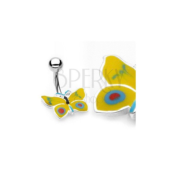 Butterfly belly button ring - yellow and blue colour