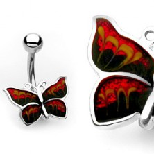 Belly button piercing – shimmering butterfly