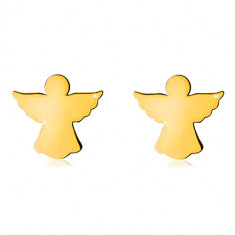 Yellow 585 gold earrings - carved contour of angel with widespread wings, studs