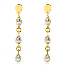 Yellow 14K gold hanging earrings - three glittery zircon tears, studs