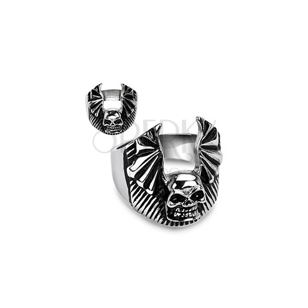 Stainless steel ring - skull with bat wings