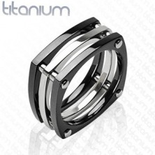Titanium ring - three squares connected by rivets